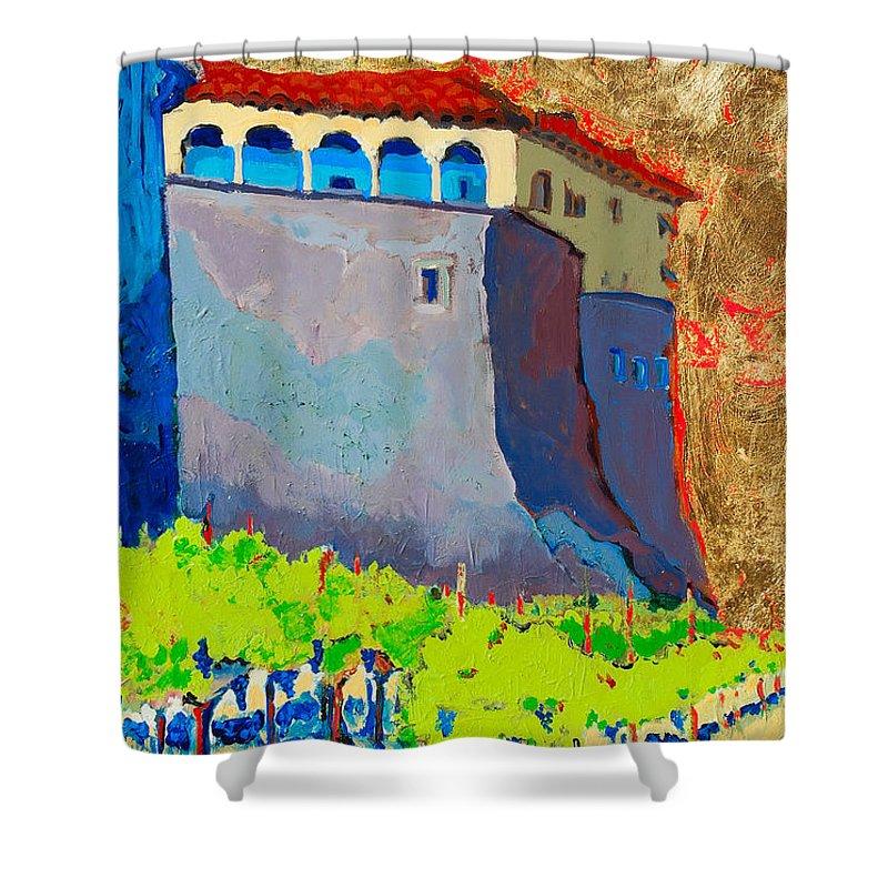Castle Shower Curtain featuring the painting Castello Di Villafranca by Kurt Hausmann