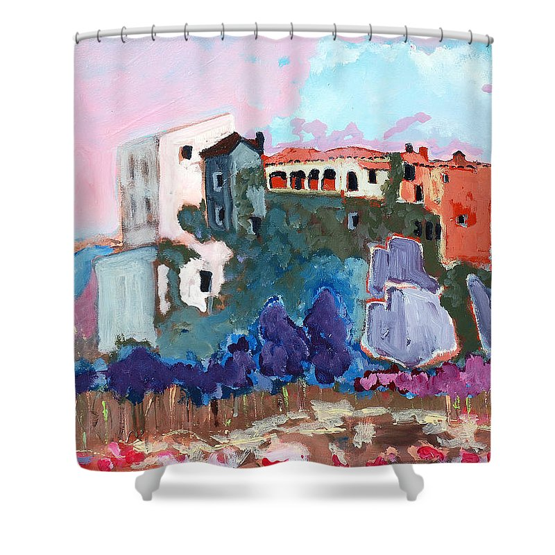 Castle Shower Curtain featuring the painting Castello by Kurt Hausmann