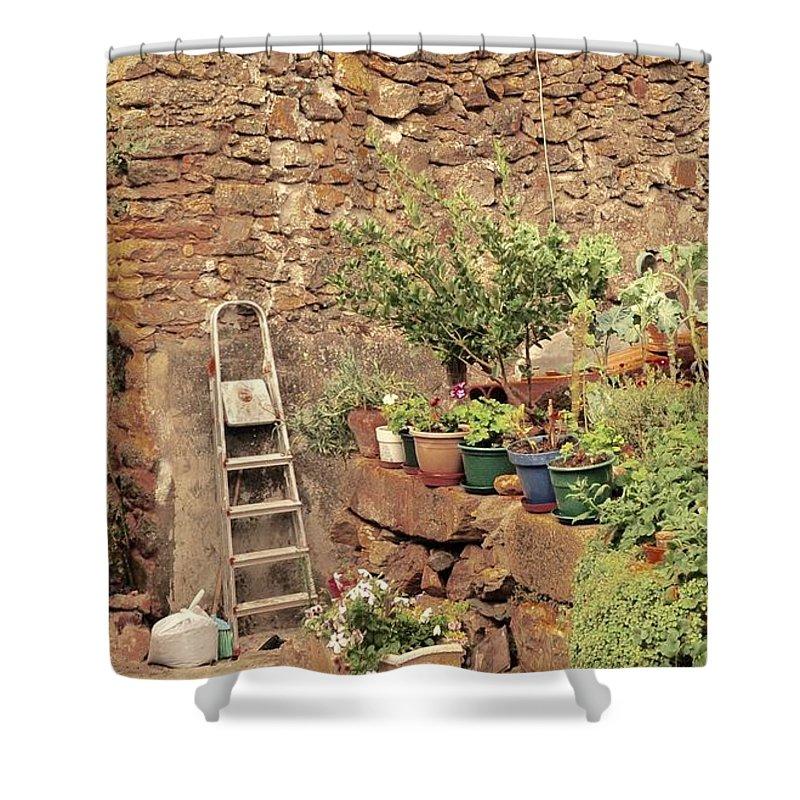 Castelo Rodrigo Shower Curtain featuring the photograph Castelo Rodrigo Garden by Csilla Florida