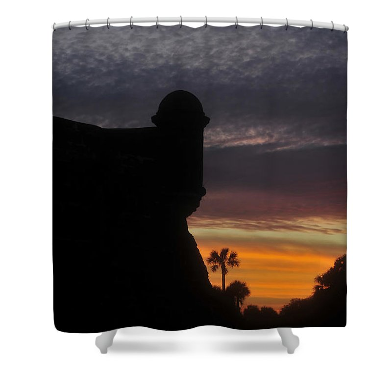 Castillo De San Marcos Shower Curtain featuring the photograph Castillo evening by David Lee Thompson