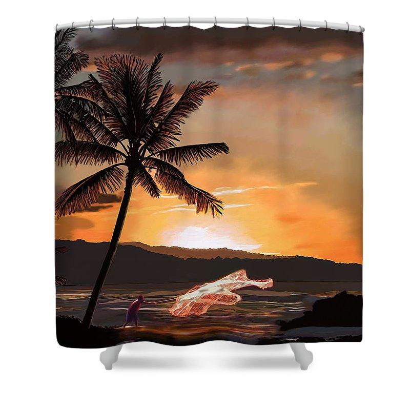 Catching Shower Curtain featuring the painting Casting Net At Sunset by James Mingo