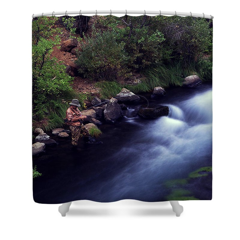 Fishing Shower Curtain featuring the photograph Casting Softly by Peter Piatt