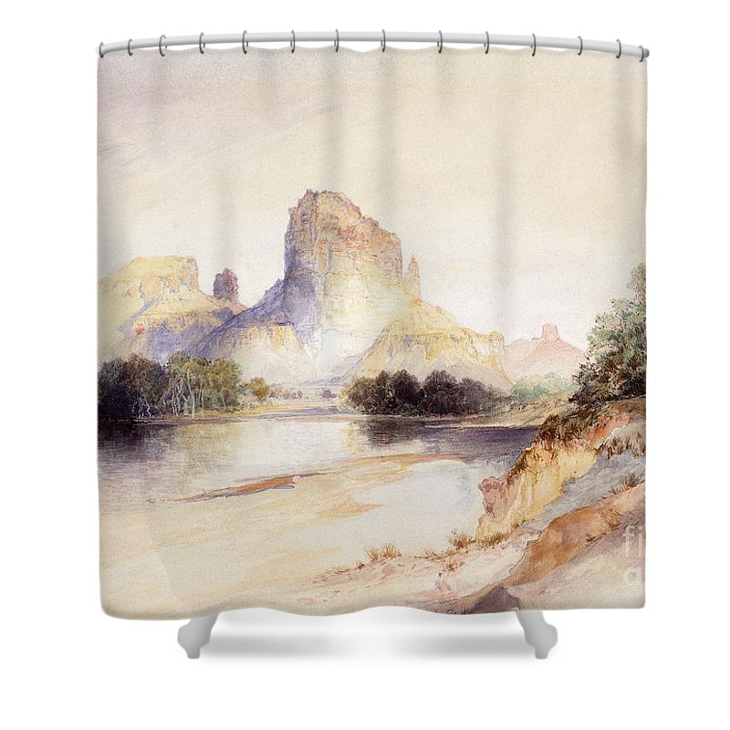 River Bank Drawings Shower Curtains