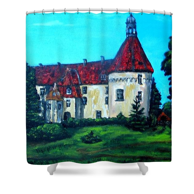 Old Town Shower Curtain featuring the painting Castle Ciityscape Acrylic Painting by Natalja Picugina