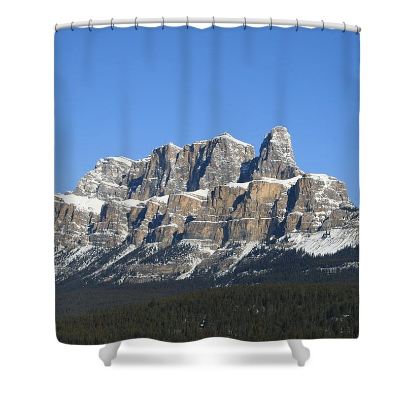 Cascade Mountain Shower Curtain featuring the photograph Castle Mountain Winter by Tiffany Vest