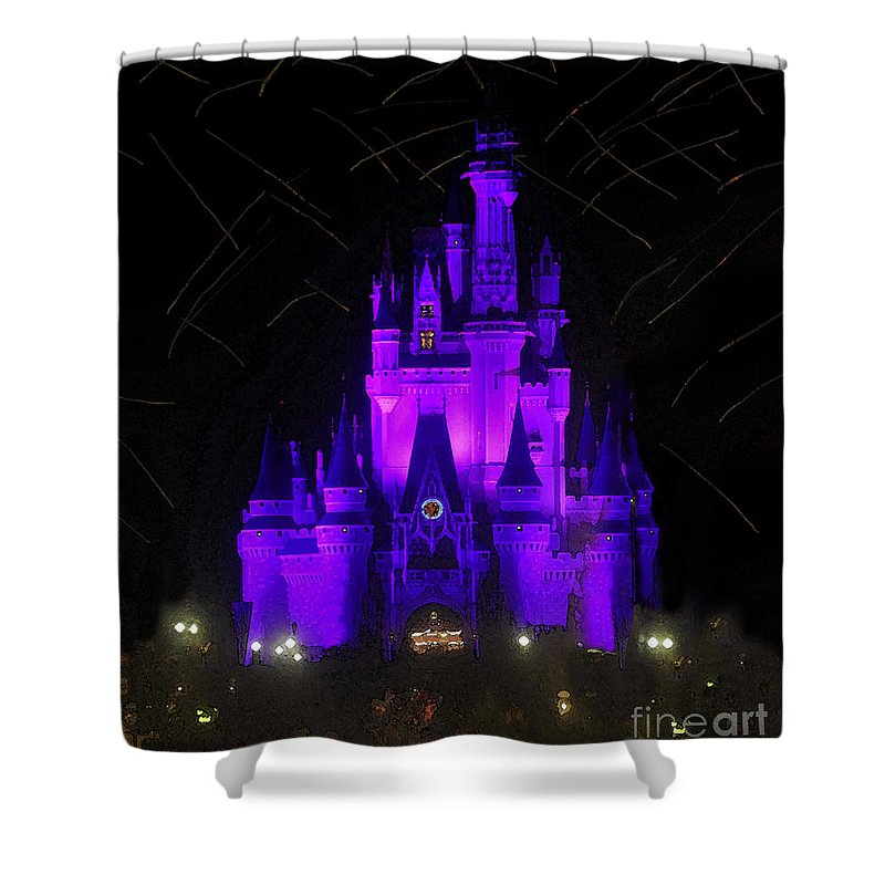 Castle Shower Curtain featuring the painting Castle Of Cinderella by David Lee Thompson