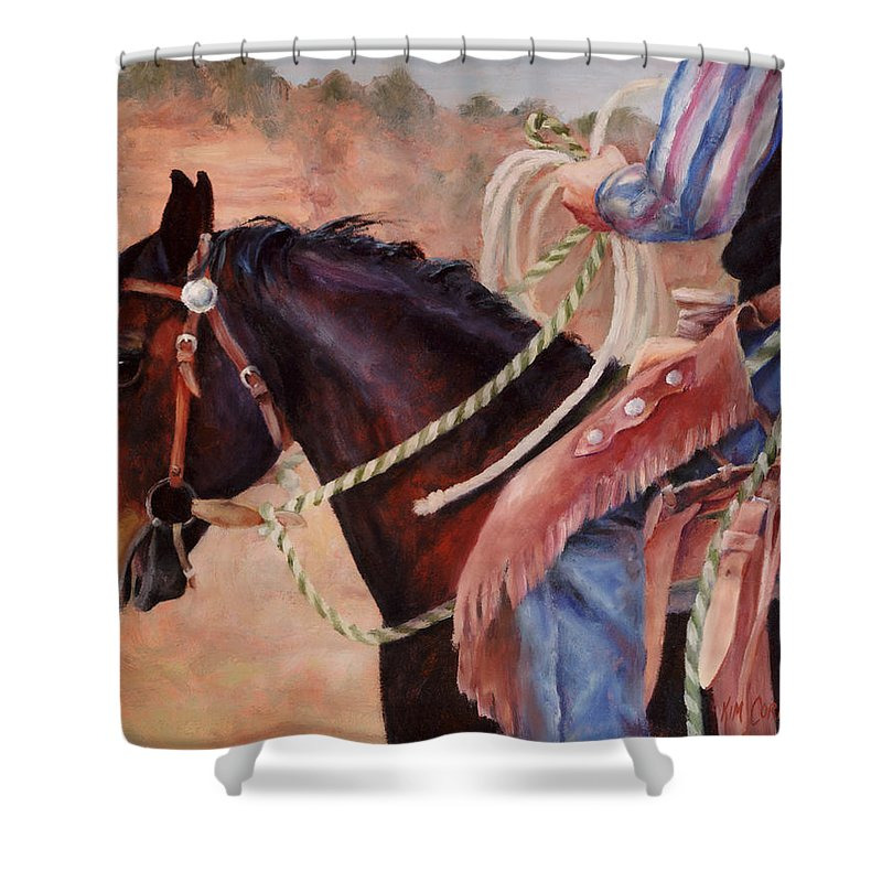 Castle Rock Buckaroo Western Cowboy Painting Shower Curtain For Sale By Kim Corpany
