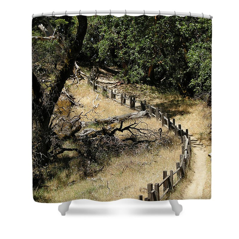 Landscapes Shower Curtain featuring the photograph Castle Rock Sp by Karen W Meyer