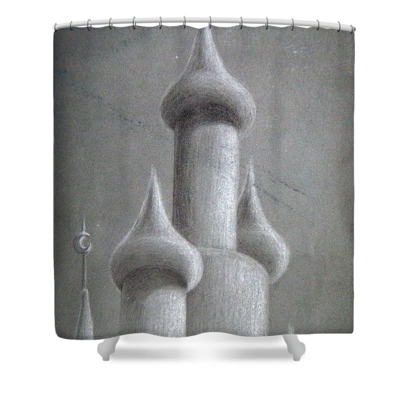 Black And White Shower Curtain featuring the drawing Castle Sketch by Shaun McNicholas