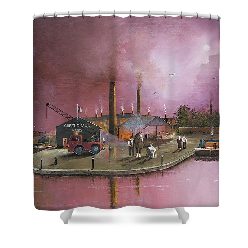 England Shower Curtain featuring the painting Castlemill Yard by Ken Wood