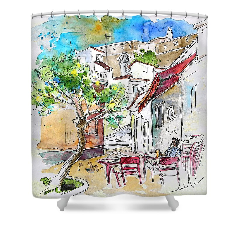 Water Colour Travel Sketch Castro Marim Portugal Algarve Miki Shower Curtain featuring the painting Castro Marim Portugal 01 by Miki De Goodaboom