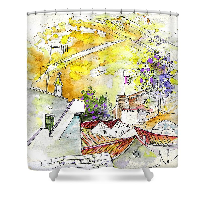 Water Colour Travel Sketch Castro Marim Portugal Algarve Miki Shower Curtain featuring the painting Castro Marim Portugal 03 by Miki De Goodaboom