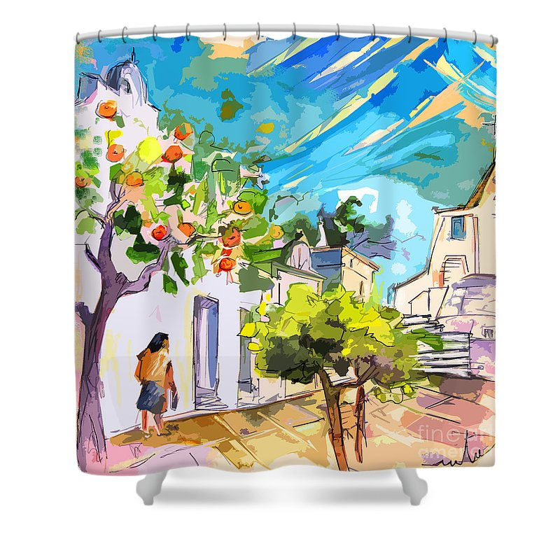 Castro Marim Portugal Algarve Painting Travel Sketch Shower Curtain featuring the painting Castro Marim Portugal 15 Bis by Miki De Goodaboom