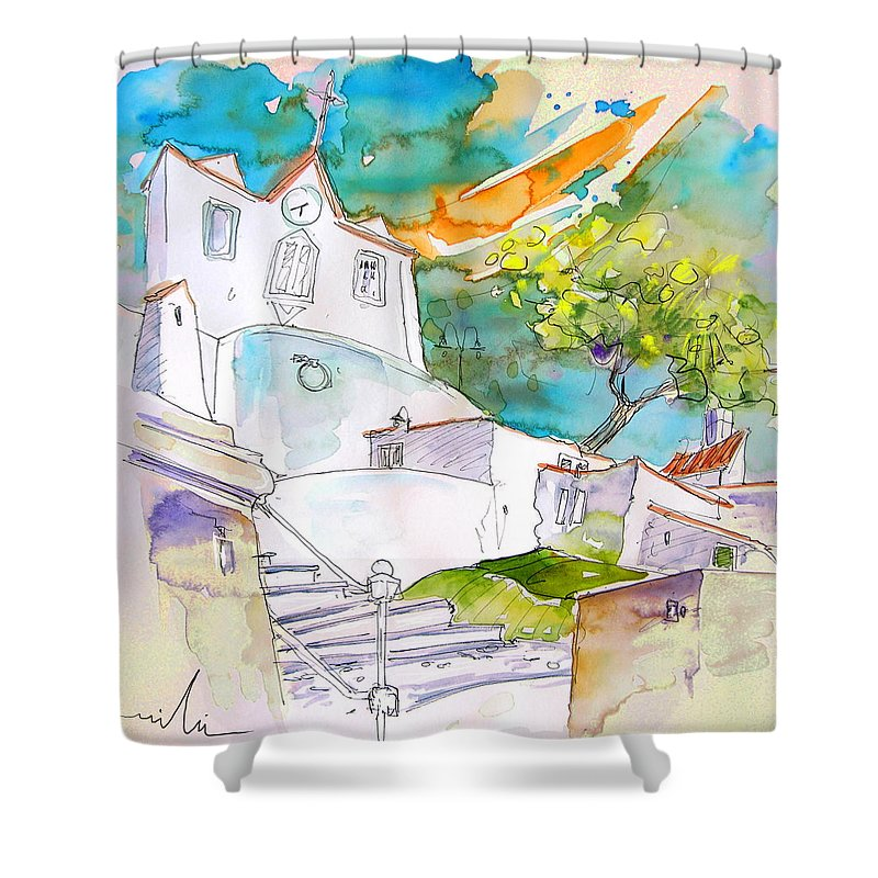 Castro Marim Portugal Algarve Painting Travel Sketch Shower Curtain featuring the painting Castro Marim Portugal 17 by Miki De Goodaboom