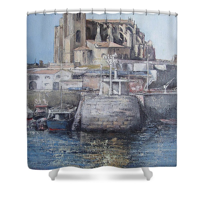 Castro Shower Curtain featuring the painting Castro Urdiales by Tomas Castano