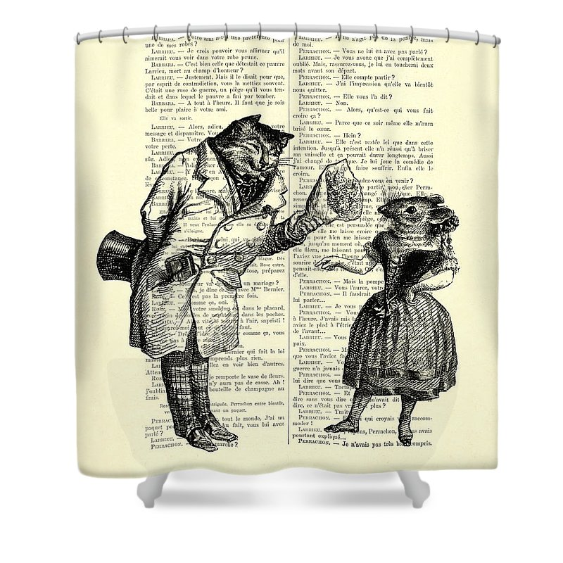 Cat Shower Curtain featuring the digital art Cat And Mouse by Madame Memento
