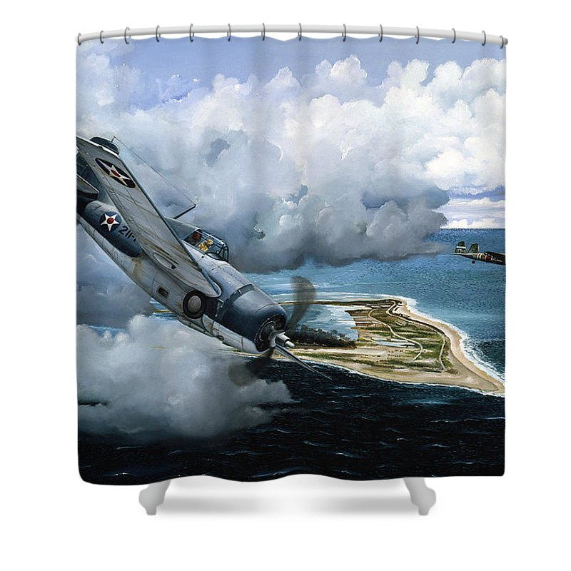 Military Shower Curtain featuring the painting Cat And Mouse Over Wake by Marc Stewart