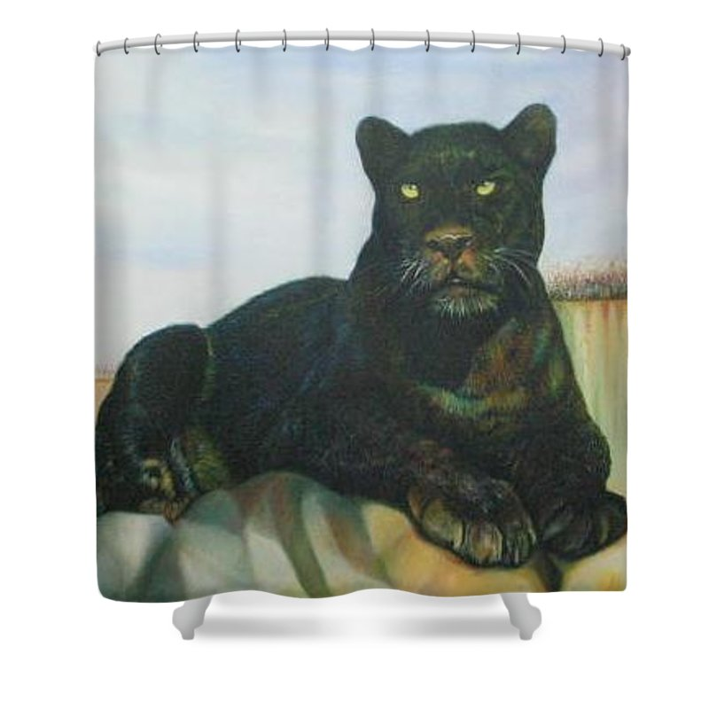 Cat Shower Curtain featuring the painting Cat And The Cave by Sukalya Chearanantana