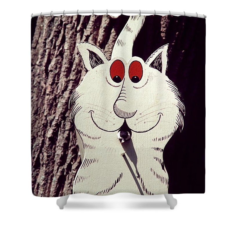 Cat Bird House Shower Curtain featuring the photograph Cat Bird House With Bird by Sally Weigand
