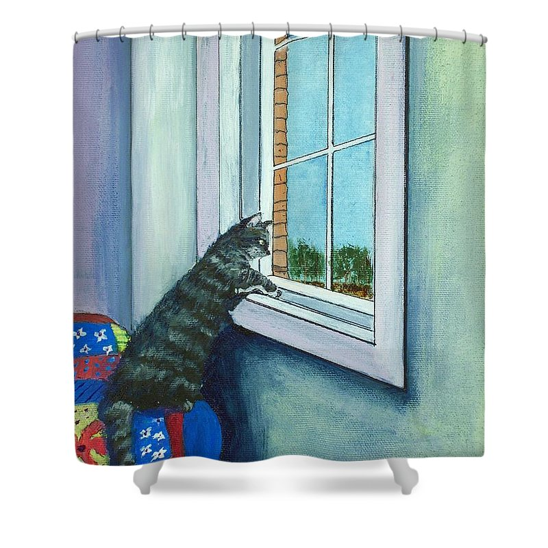 Malakhova Shower Curtain featuring the painting Cat By The Window by Anastasiya Malakhova