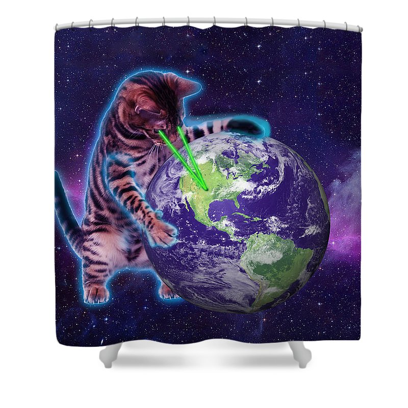 Shower Curtain Featuring The Digital Art Cat Destroying World With Eye Laser By Johnnie