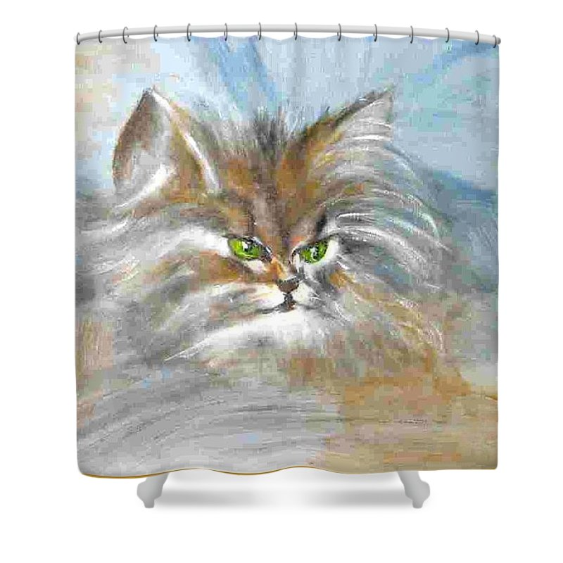 Cat Shower Curtain featuring the painting cat by Dragica Micki Fortuna
