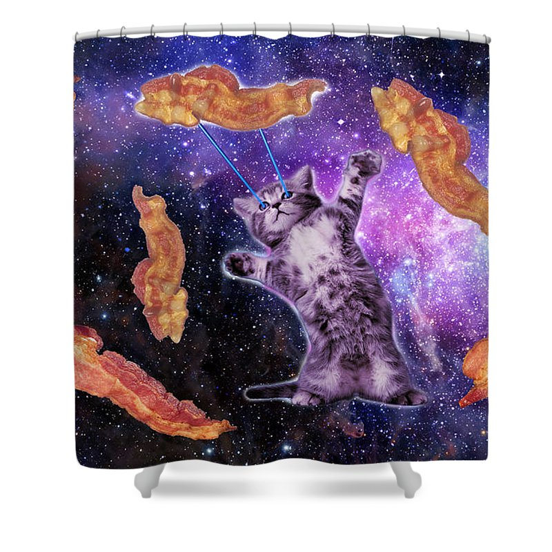Cat Shower Curtain Featuring The Digital Art Cat Frying Bacon With Eye  Laser ...