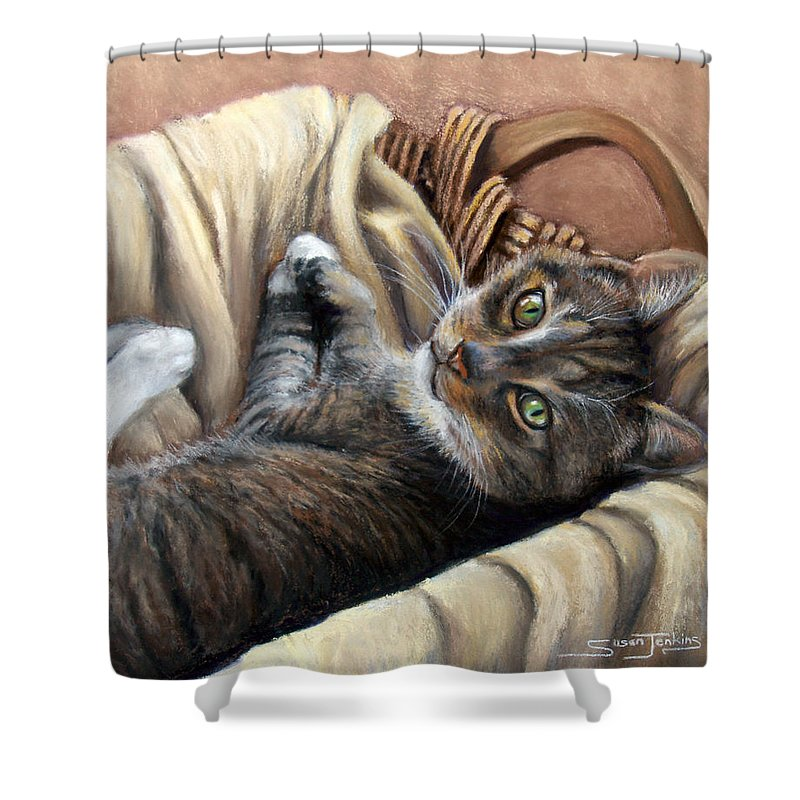 Animal Shower Curtain featuring the pastel Cat In A Basket by Susan Jenkins