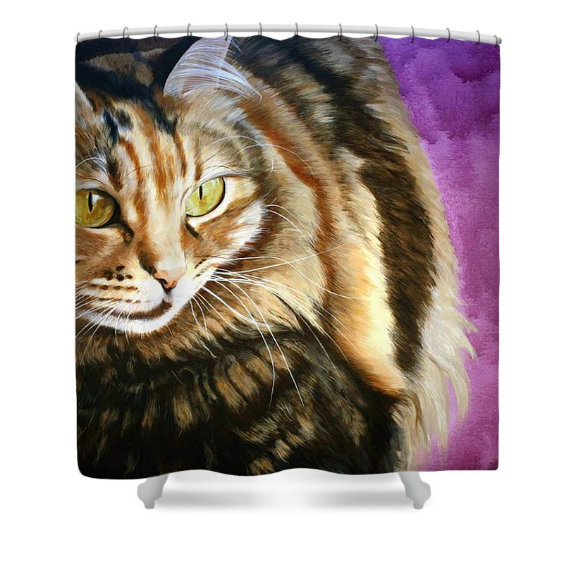 Cat Shower Curtain featuring the painting Cat In Purple Background by Susana Falconi