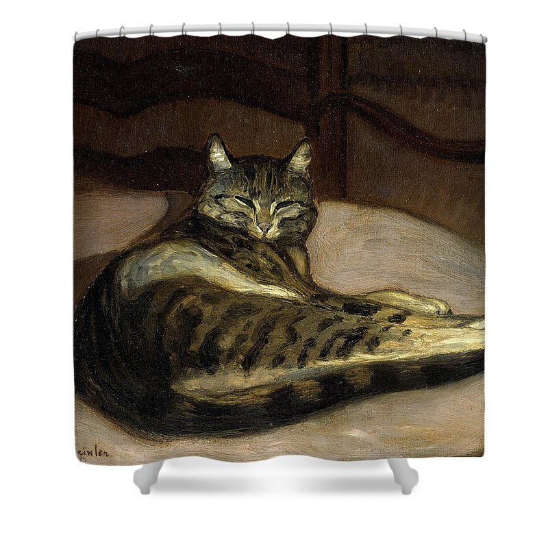 Theophile-alexandre Steinlen Shower Curtain featuring the painting Cat On A Chair by Theophile-Alexandre Steinlen