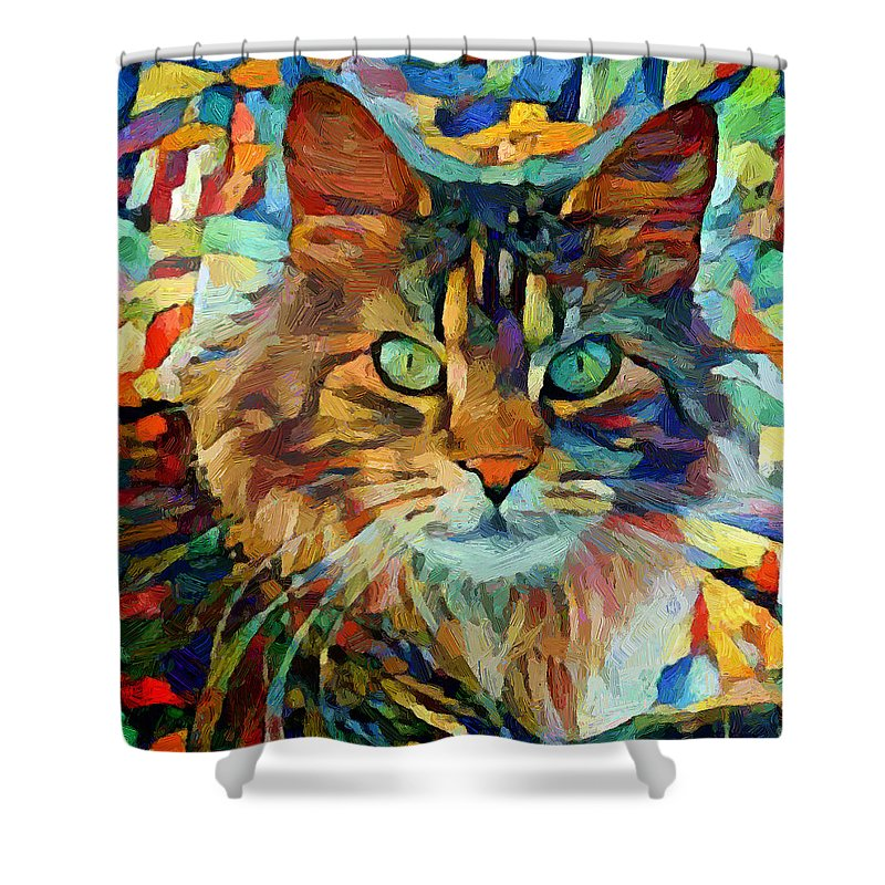 Kitty Shower Curtain featuring the digital art Cat On Colors by Yury Malkov