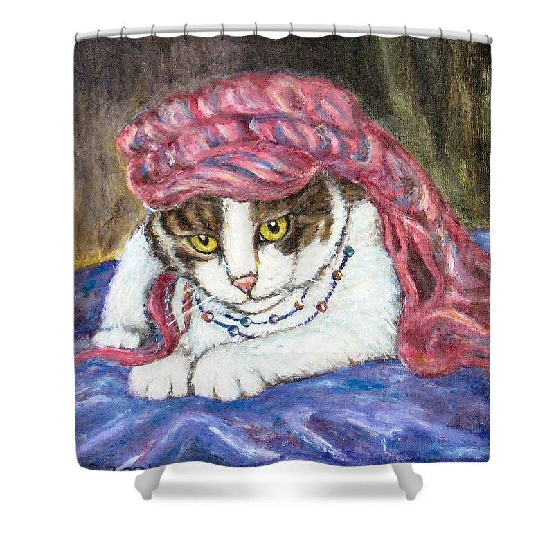 Cat Painting Shower Curtain featuring the painting Tabby Cat With Yellow Eyes by Frances Gillotti