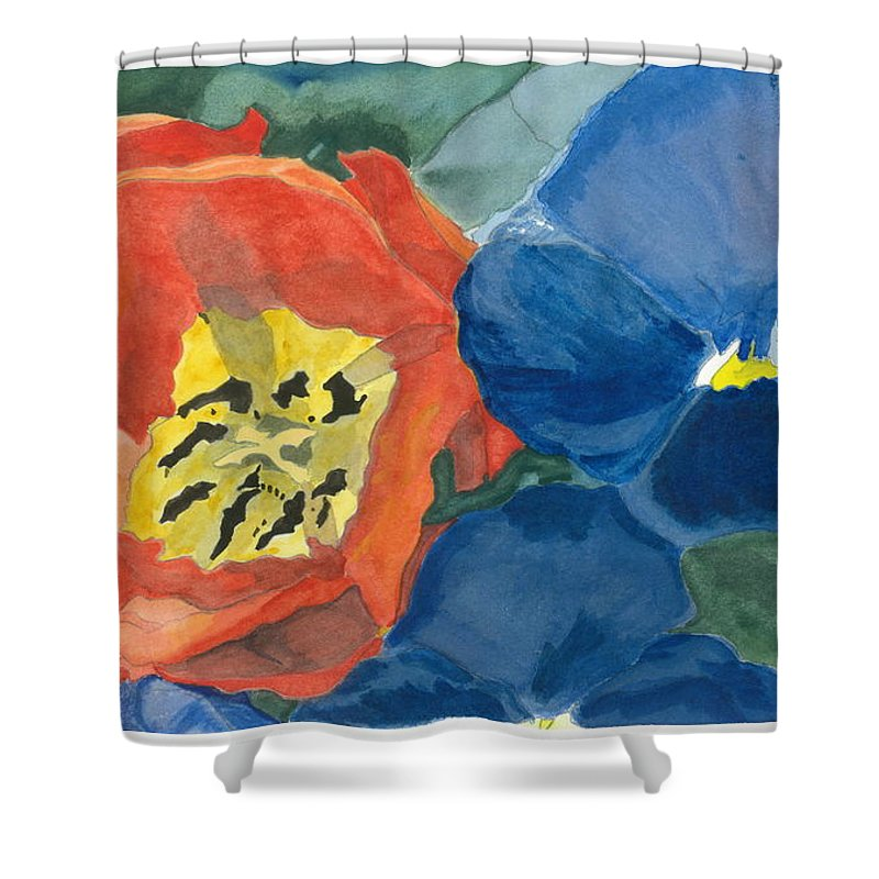 Tulip Shower Curtain featuring the painting Cat Tulip by Joel Deutsch