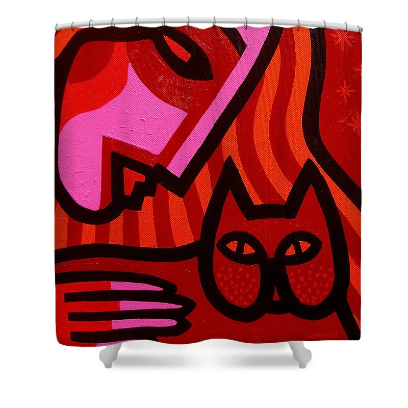 Acrylic Shower Curtain featuring the painting Cat Woman by John Nolan