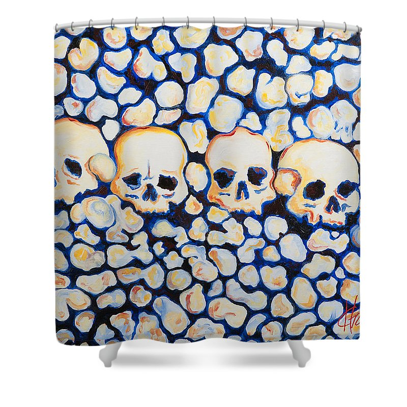 Skulls Shower Curtain featuring the painting Catacombs by Heather Grisham
