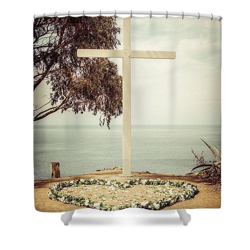America Shower Curtain featuring the photograph Catalina Island Cross Picture Retro Tone by Paul Velgos