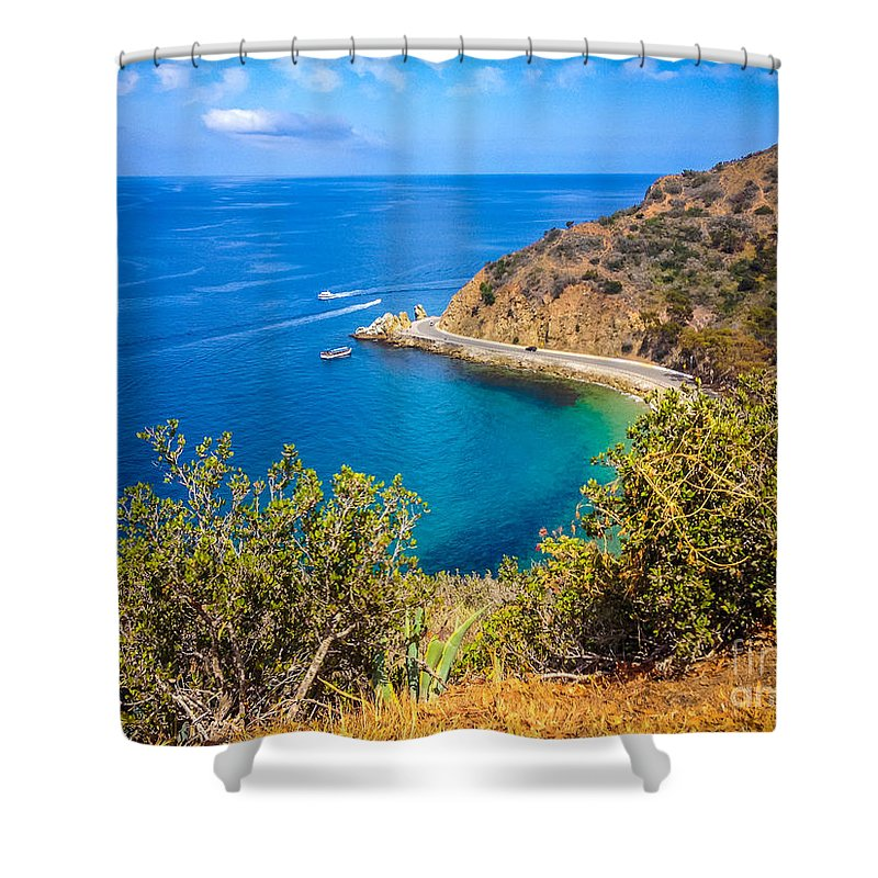 America Shower Curtain featuring the photograph Catalina Island Lover's Cove Picture by Paul Velgos