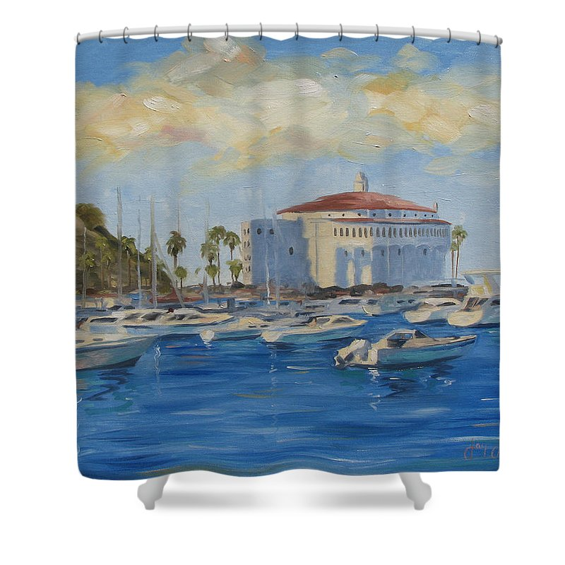 California Shower Curtain featuring the painting Catallina Casino by Jay Johnson