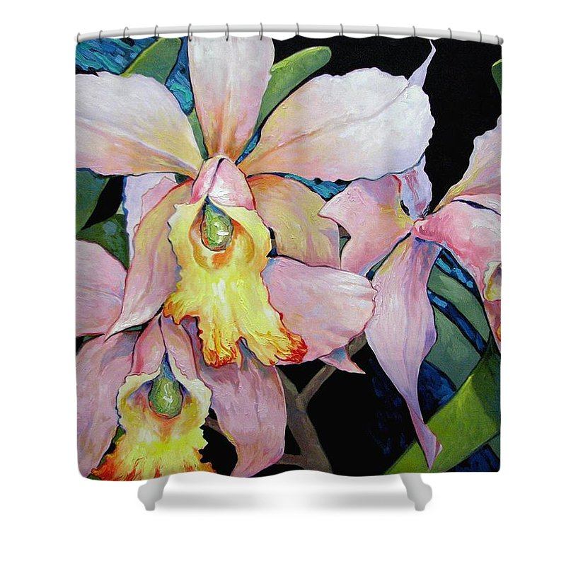 Catalya Shower Curtain featuring the painting Catalya Arrangement by Jerrold Carton