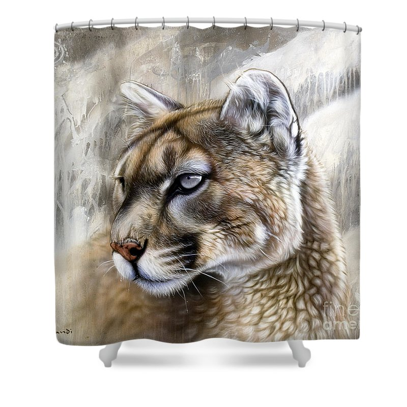 Acrylic Shower Curtain featuring the painting Catamount by Sandi Baker
