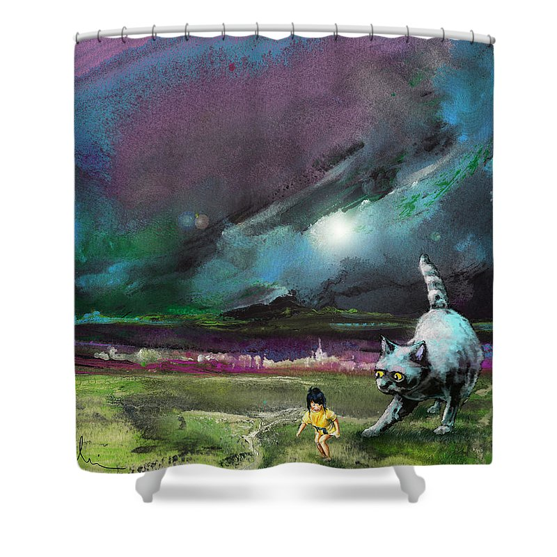 Animals Shower Curtain featuring the painting Catch Me If You Can by Miki De Goodaboom