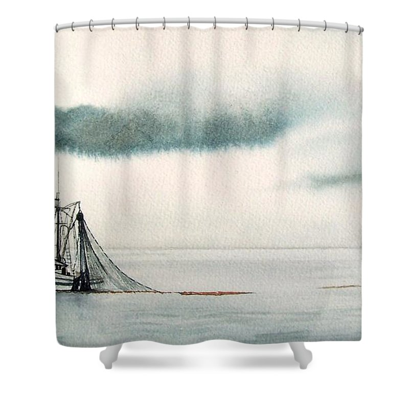 Fishing Boat Shower Curtain featuring the painting Catch Of The Day by Gale Cochran-Smith