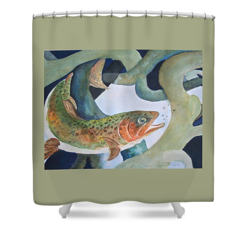 Shower Curtain featuring the painting Catching Flies by Donna Steward