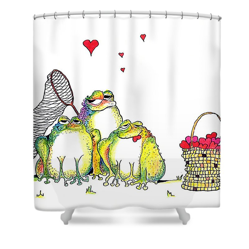 Valentine Card Shower Curtain featuring the painting Catching Hearts by Pat Saunders-White