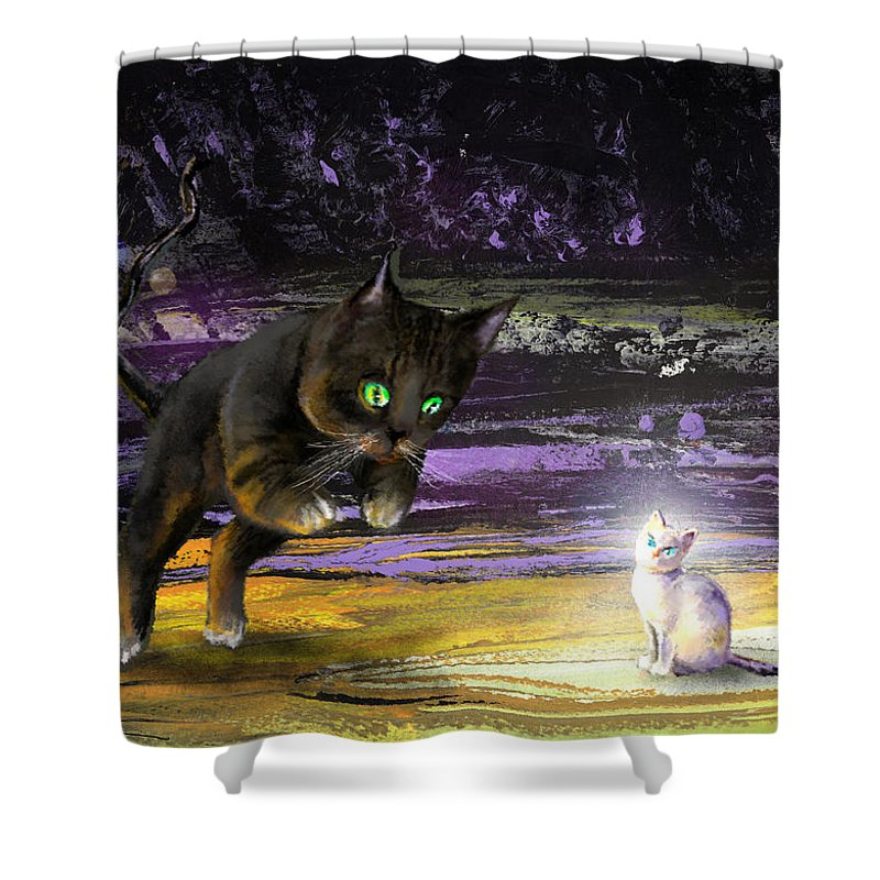 Cats Shower Curtain featuring the painting Catechismic Apparition by Miki De Goodaboom