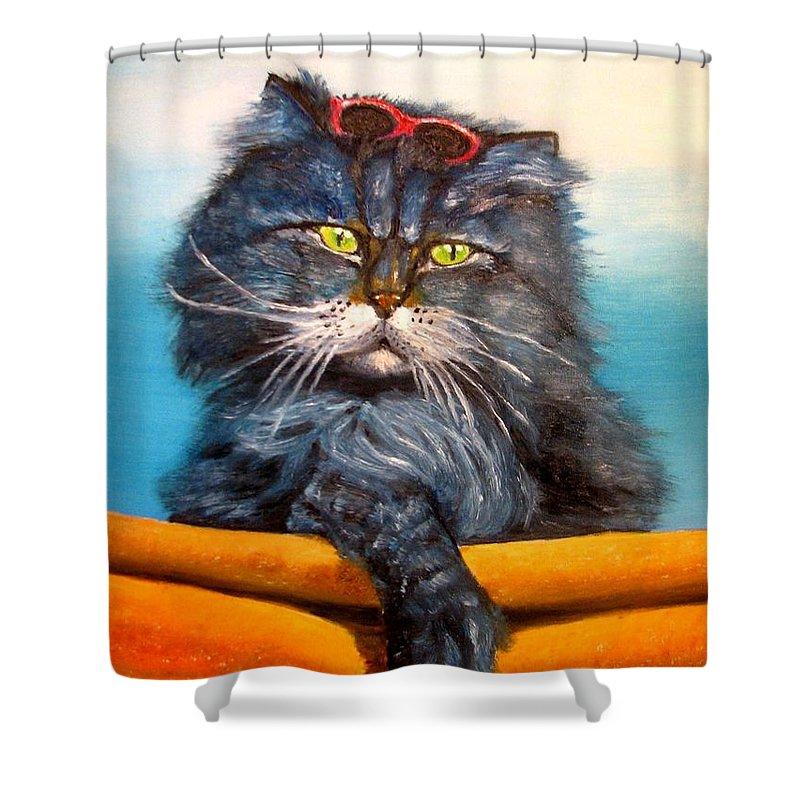 Cat Shower Curtain featuring the painting Cat.go To Swim.original Oil Painting by Natalja Picugina