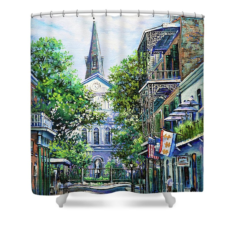 Louisiana Cathedral Shower Curtain featuring the painting Cathedral at Orleans by Dianne Parks
