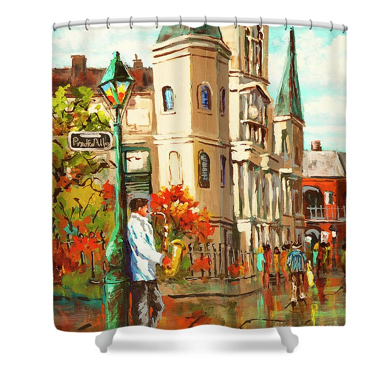 New Orleans Art Shower Curtain featuring the painting Cathedral Jazz by Dianne Parks