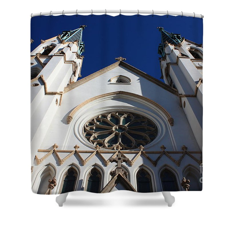 Cathedral Of St John The Babtist Shower Curtain featuring the photograph Cathedral Of St John The Babtist In Savannah by Carol Groenen