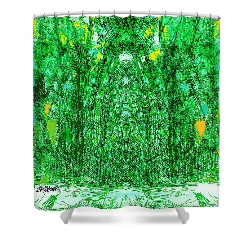 Cathedral Shower Curtain featuring the digital art Cathedral Of Trees by Seth Weaver